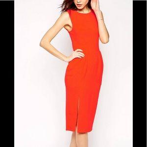 Asos orange midi wiggle dress